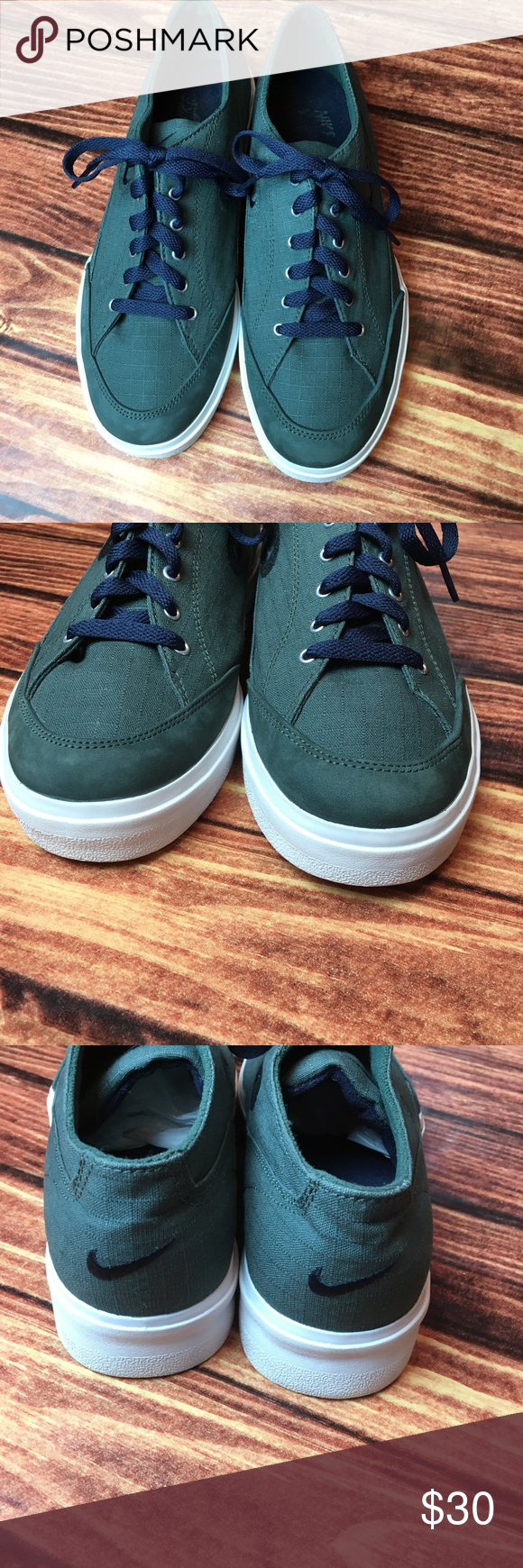 {Nike} green canvas sneakers Sz 9.5 Green canvas {Nike} sneakers with blue swoosh & new blue laces. Size 9.5 great condition! Nike Shoes Sneakers