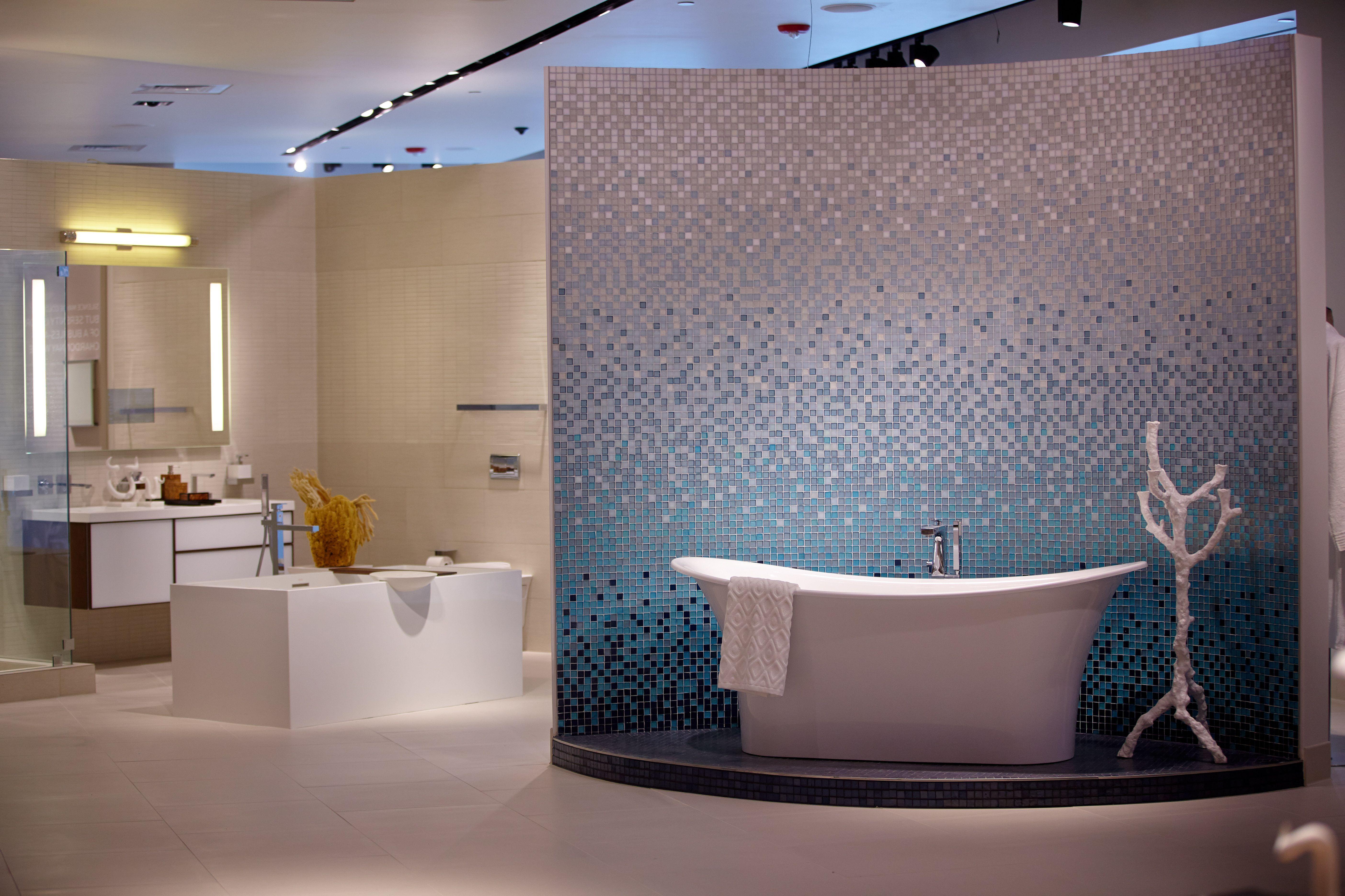 Gorgeous Bath Vignette Featuring Oceanside Glasstile In PIRCH - Bathroom design showroom chicago