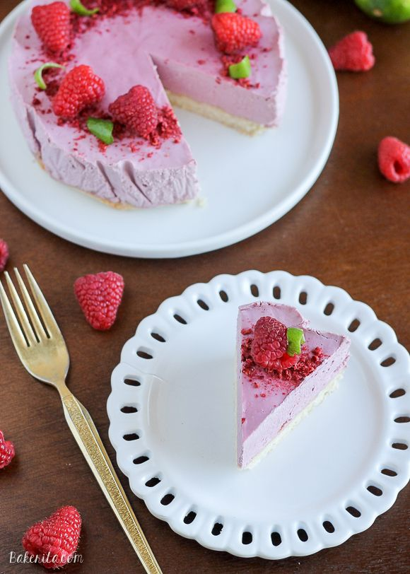 This Vegan Raspberry Lime Cheesecake with Coconut Crust is creamy and bursting with fresh, summery flavor. This vegan cheesecake is also Paleo, gluten-free, and refined sugar-free.