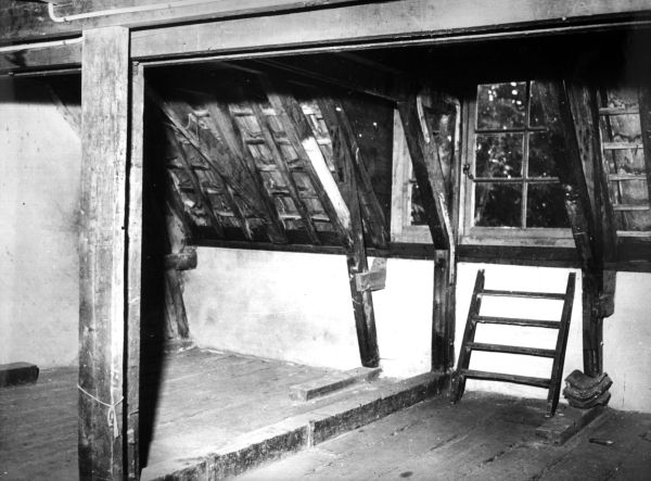 The attic of the secret annex where Anne Frank and her ...