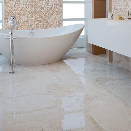 Flavia Cream Marble Effect Bathroom Floor Tiles With Stylish Bathtub