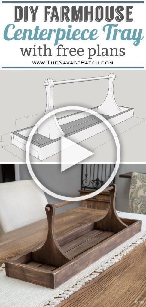 DIY Centerpiece Tray with free plans | Learn How to build a large farmhouse tray with step-by-step tutorial for DIY large tray. #DIY #HomeDecor #HowTo #FreePlans