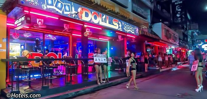 Dolls Agogo is located towards the Beach Road end of Soi 6 in Pattaya,  Thailand