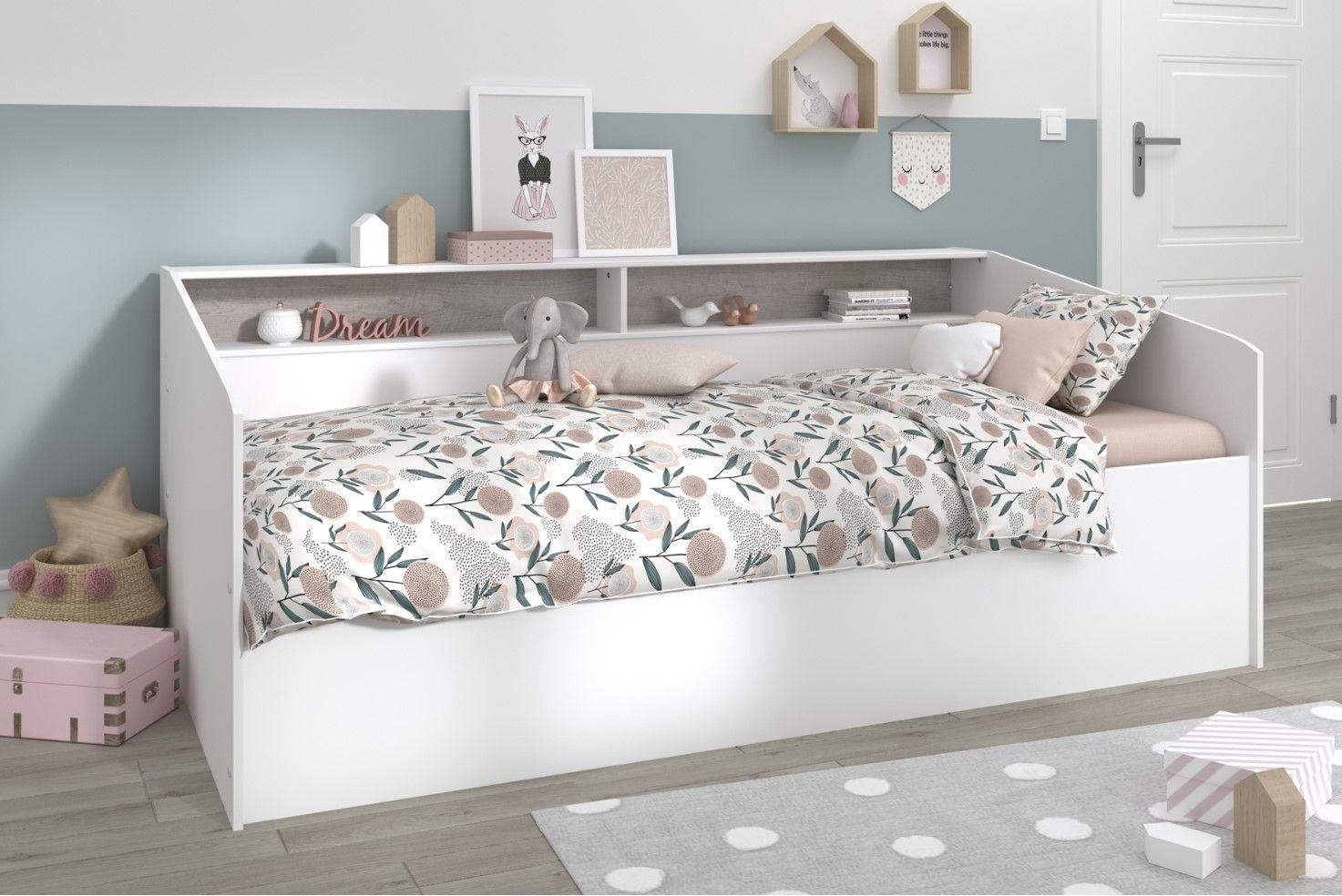 lit coffre 90x200 cm taylor blanc et