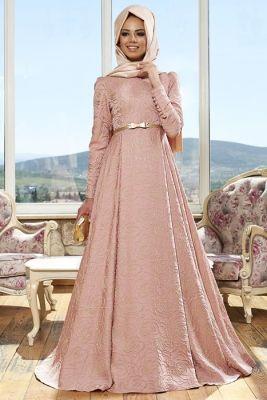 ec13fc418ed63 Mevra Pudra Alya Tesettür Abiye Elbise | Hijab | Giyim, Elbiseler ...