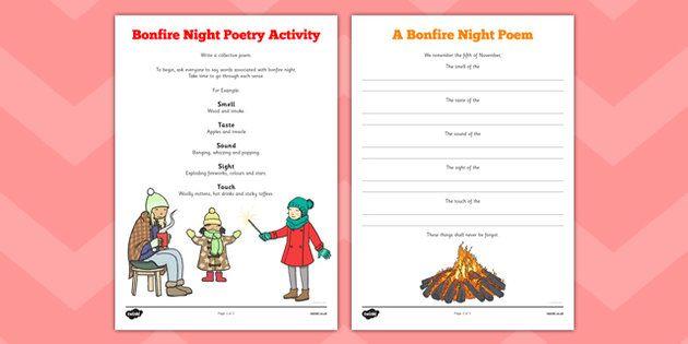 bonfire night poetry activity fireworks november 5th fifth poem colour noise writing. Black Bedroom Furniture Sets. Home Design Ideas