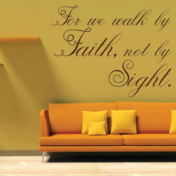 For We Walk By Faith Wall Decal | Christian Wall Decal | Christian ...