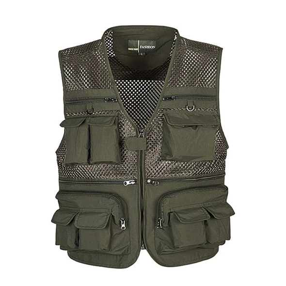Flygo Mens Summer Mesh Fishing Vest Photography Work Multi-Pockets Outdoors Journalists Vest Sleeveless Jackets