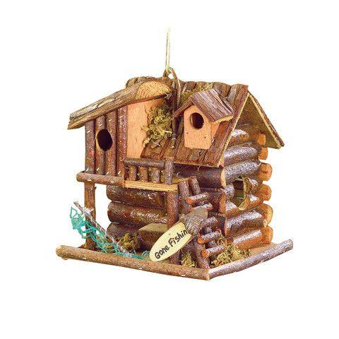 "Product Description Wood cabin bird house ""Gone Fishin'. 7 7/8"" x 7"" x 8 1/4"" high. UPC: 849179011819."