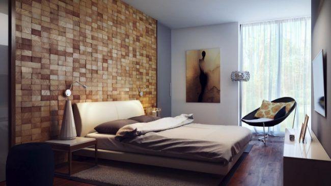 schlafzimmer-modern-gestalten-ideen-wandverkleidung-holz-bloecke - schlafzimmer modern holz