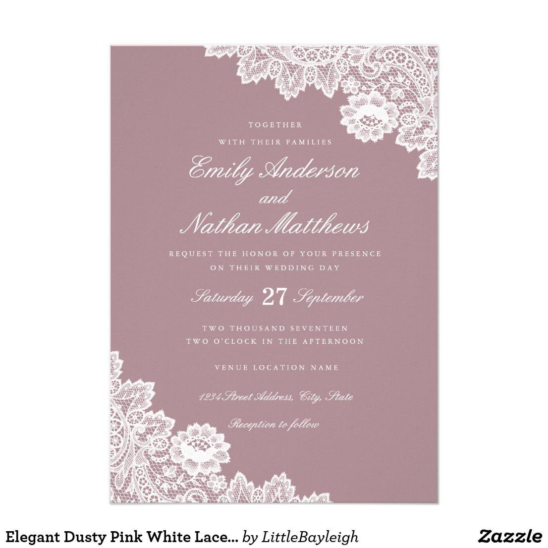 Elegant Dusty Pink White Lace Wedding Invitation Zazzle Com
