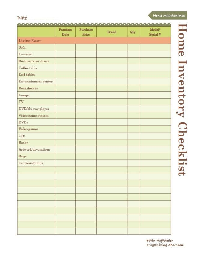 Use This Free Printable To Create An Inventory Of Your Home Household Notebook Home Inventory Organization Printables