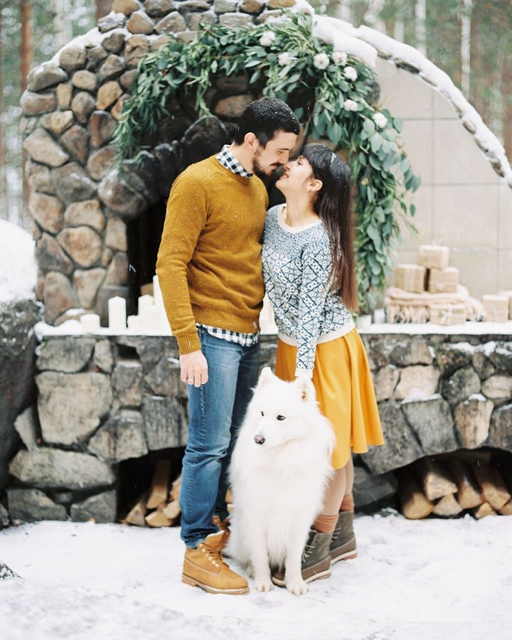 Christmas wintry wonderland engagement photo session