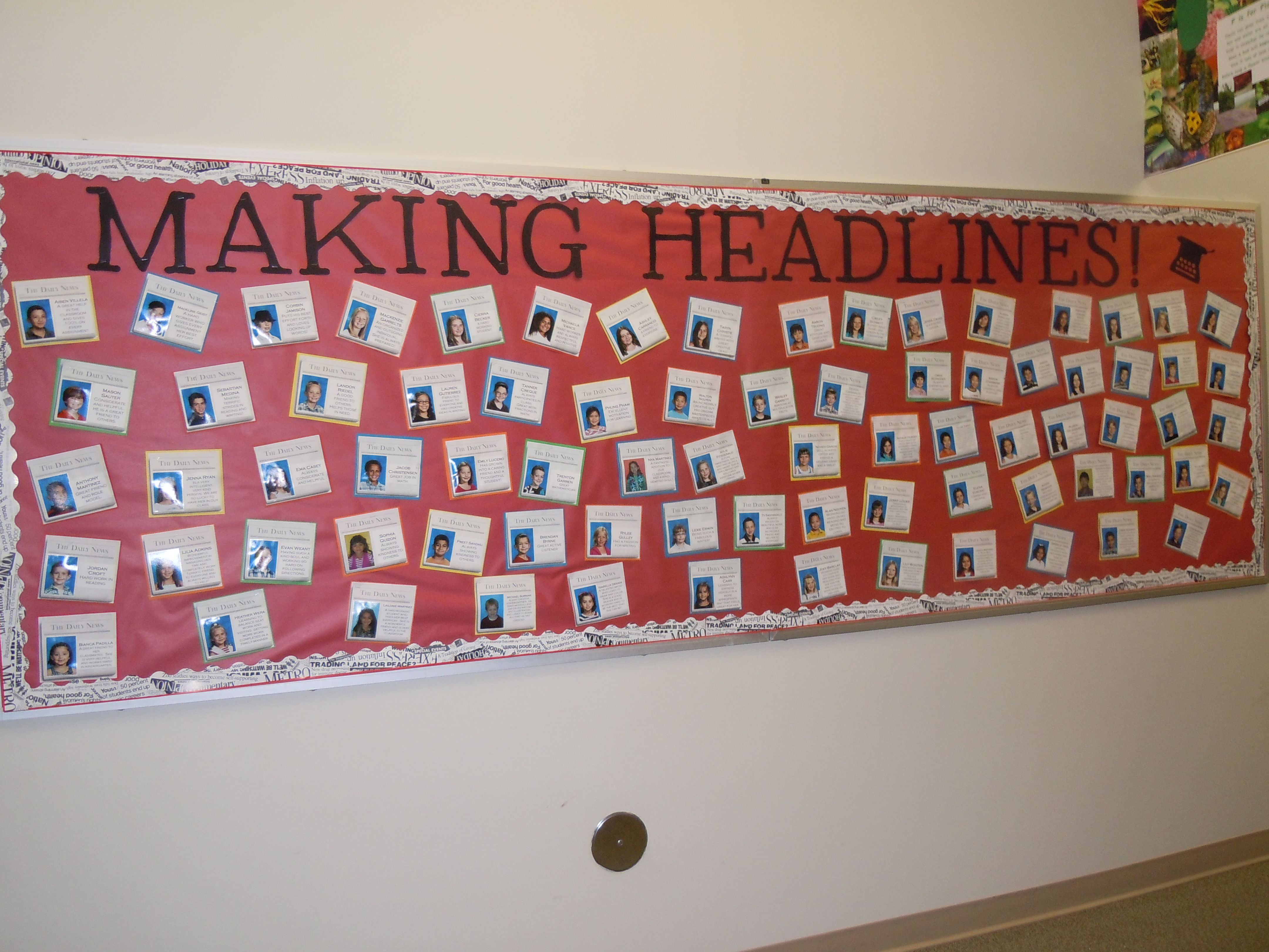 Classroom Newspaper Ideas : Quot making headlines wall of fame with newspapers school