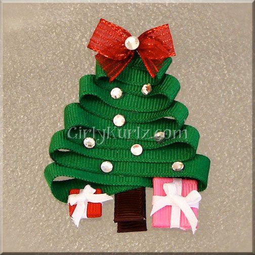Christmas Tree Hair Clip Christmas Ribbon Sculpture Etsy In 2020 Christmas Bows Christmas Ribbon Ribbon On Christmas Tree