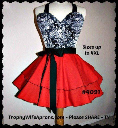 Sexy Apron # 4091 - Stunning black & white skulls over ruffled circular style red apron -