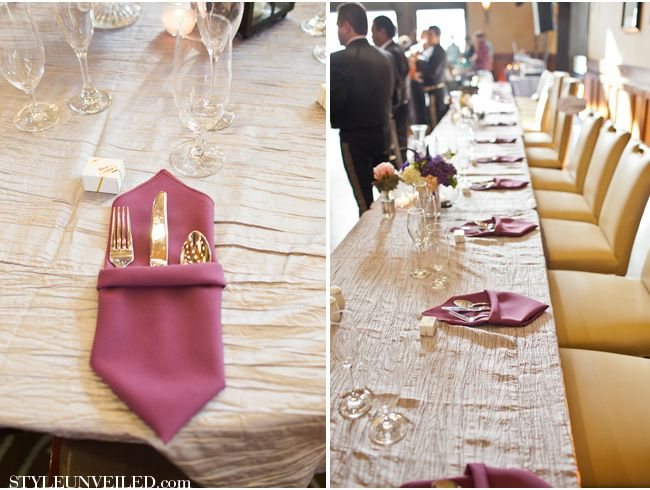 Love This Napkin Fold Wedding Reception Table Setting