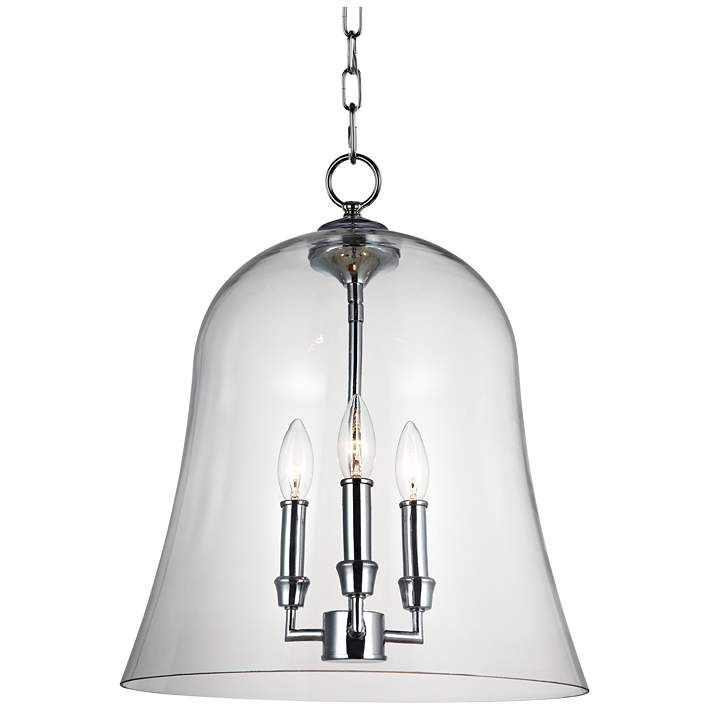 Feiss Lawler 14 3 4 Wide Clear Glass Bell 3 Light Pendant