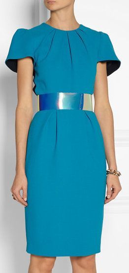 Oriel Color-Block Wool-Crepe Dress