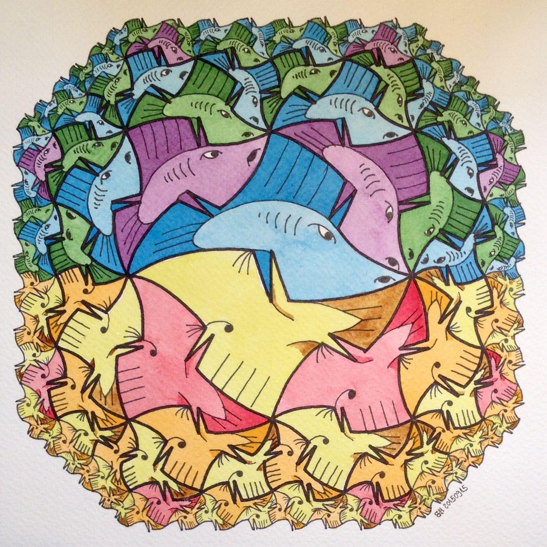 #symmetry #pattern #fibonacci #fibonaccisequence #eukleides # geometry #fractal #fractalart #mathart #artorart #handmade #pentagon #watercolor #aquarelle #evolution #spiral #vortices #mandala