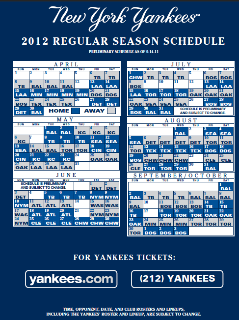 2012 Regular Season Schedule   All About the Yankees