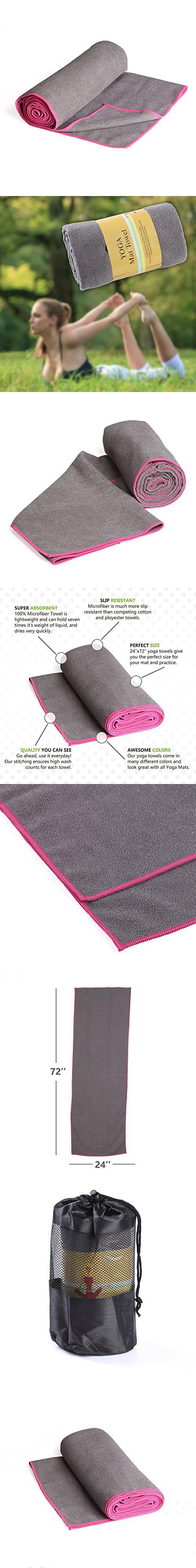 "Hot Yoga Towel [24"" x 72""] IMISI Hot Yoga Towel - Non Slip, No Bacterium Softness Microfiber, High Adsorption Capacity, Water-Absorption for Hot Yoga, Pilates, Fitness-Machine Washable"