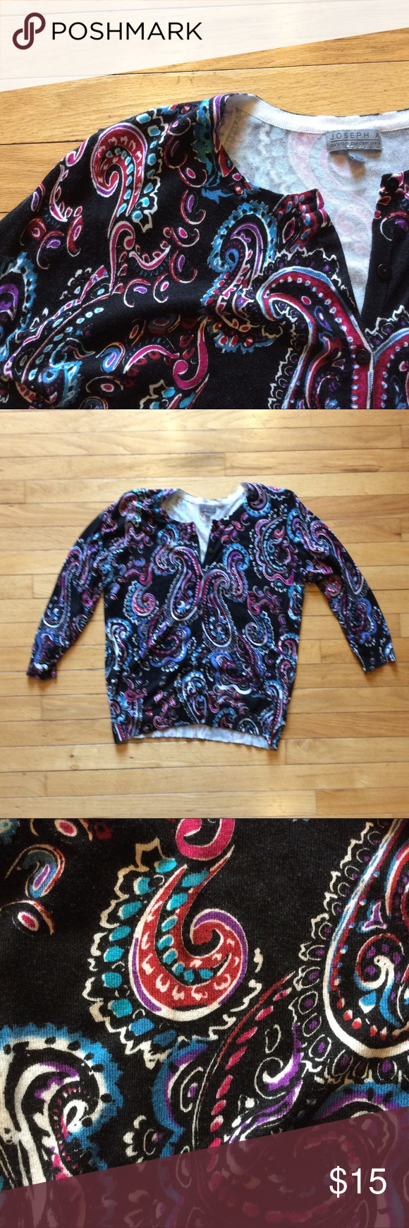 Paisley Print Cardigan Gorgeous Paisley print cardigan. I LOVE this but the fit is a little tight for my liking. I am a L/XL depending on the brand. EUC. Black with beautiful jewel tones. Sweaters Cardigans