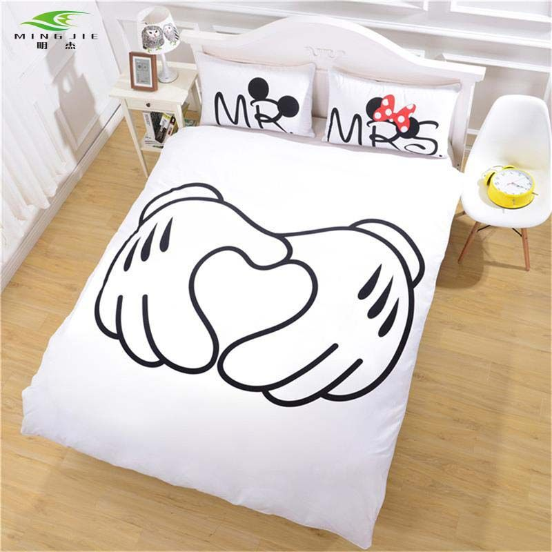 home d cor diy Mickey Mouse handshake Bedding Set Heart Bedding Plain  Printed Christmas Gift. home d cor diy Mickey Mouse handshake Bedding Set Heart Bedding