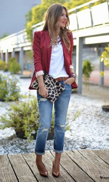 1 Peça 3 Looks: Blazer Vinho + Calça Destroyed | Look moda