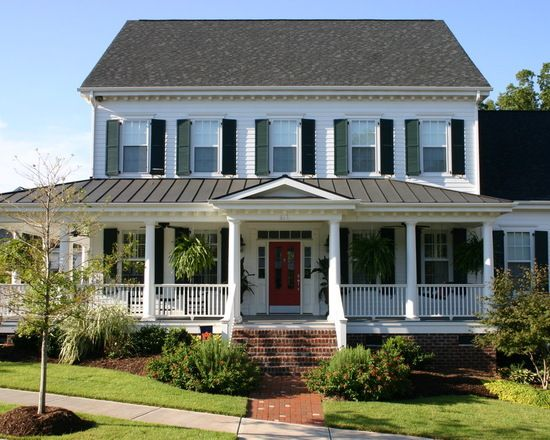 Mixed Medium Roofing Shingles And Sheet Metal Make For Great Roofing Combinations Scheduled Via Http Front Porch Design Porch Remodel Front Porch Remodel