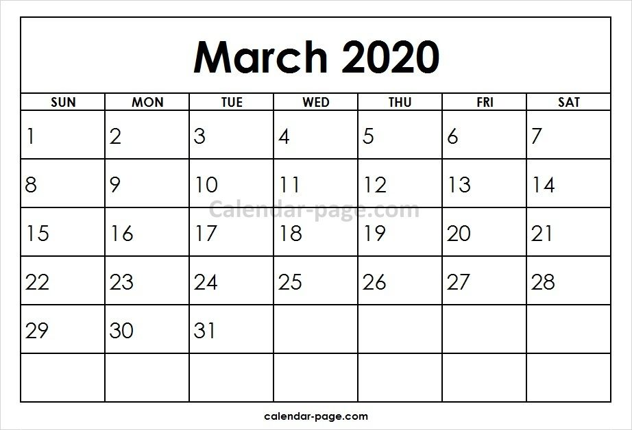 March 2020 Printable Calendar Template Blank Calendar Pinterest - march calendar template
