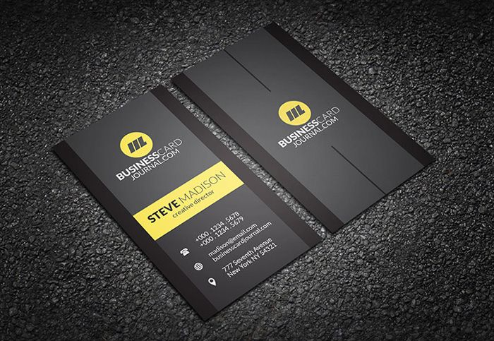 Vertical-Black-Business-Card-Template | Business Cards | Pinterest ...