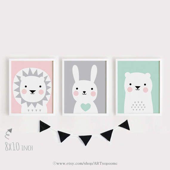 Vivero Làmina León conejo oso para imprimir arte conjunto de 3 ...