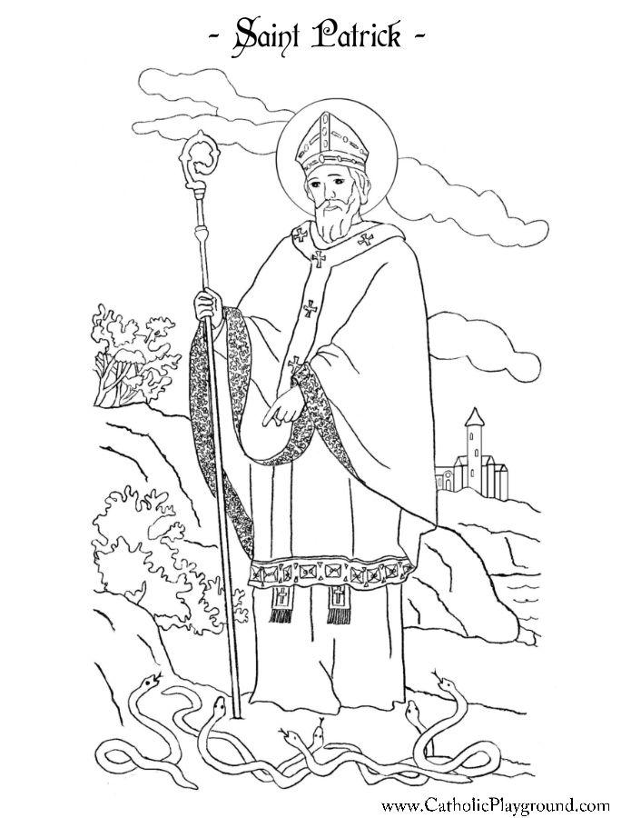 Saint Patrick Coloring Page Catholic Playground Catholic