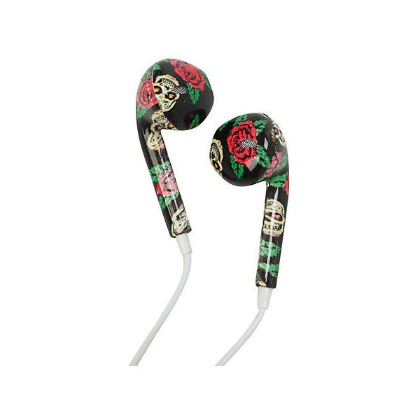 MiCase Sugar Skull Rose Print Earbuds | Hot Topic (58 NOK) ❤ liked on Polyvore featuring accessories, tech accessories, earbuds, skull earbuds and earphones earbuds