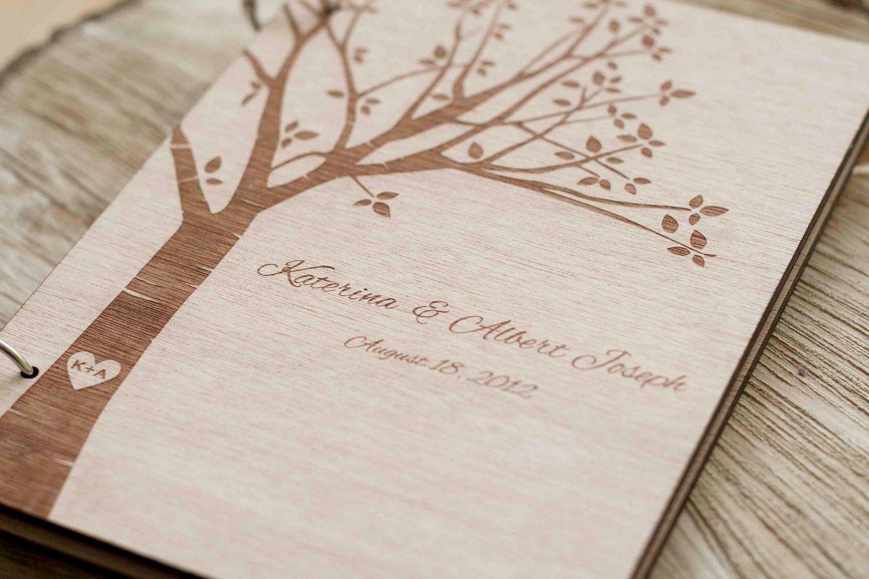 Wood Wedding Guest Book Guestbook Modern Custom Gift Keepsake Journal