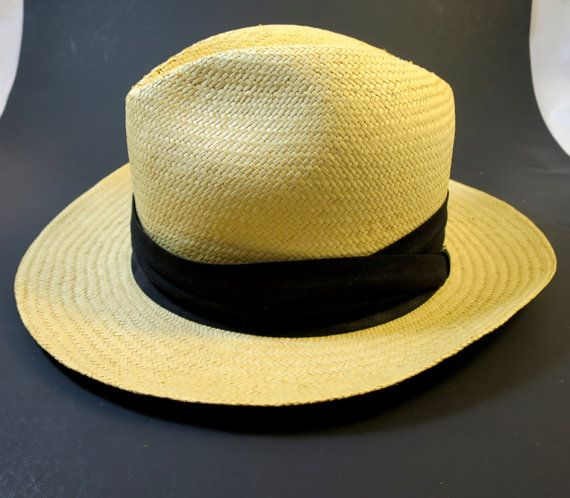 Items similar to Vintage Panama Fedora Hat Black Band Fiesta Brand Unisex Summer Sun Hat Classic Panama Hat Size Small Fashion Hat Straw Panama Hat on Etsy