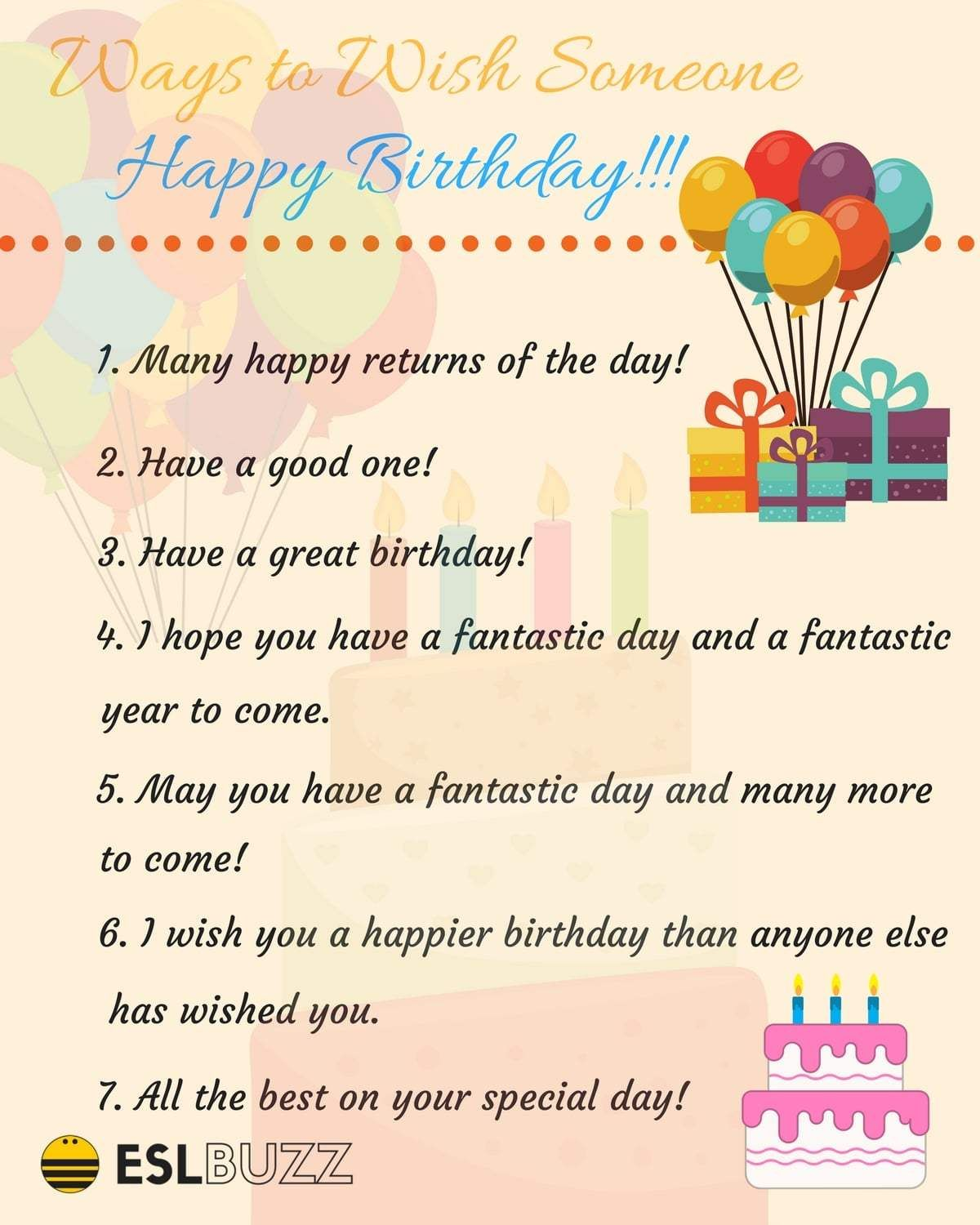 20 Creative Ways To Say Happy Birthday Other Ways To Say Birthday Wishes For Teacher Learn English