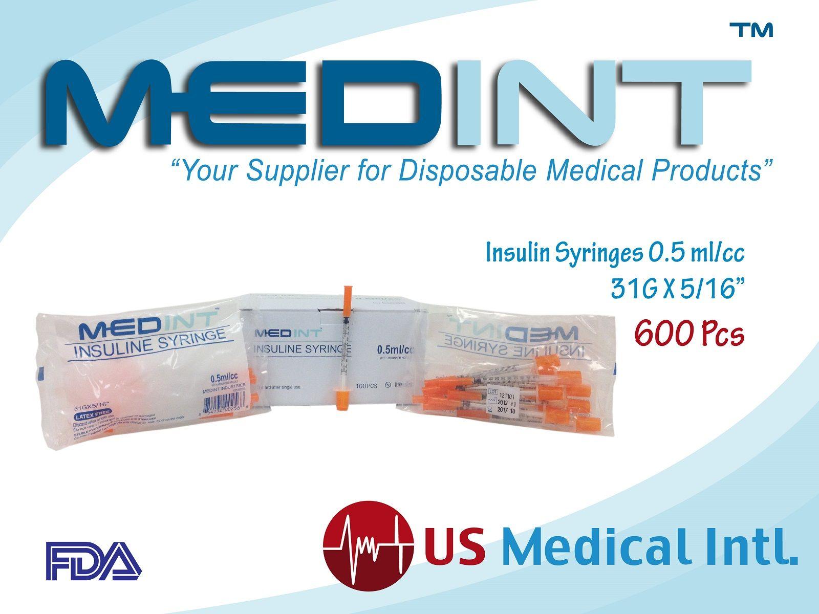 "Pin en Syringes Insulin 0.5 ml/cc 31G X 5/16"""