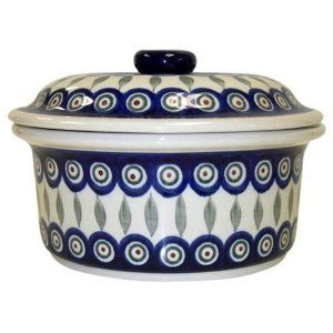 Teresa Beach Polish Pottery 5 Cup Covered Dish Pea Pattern