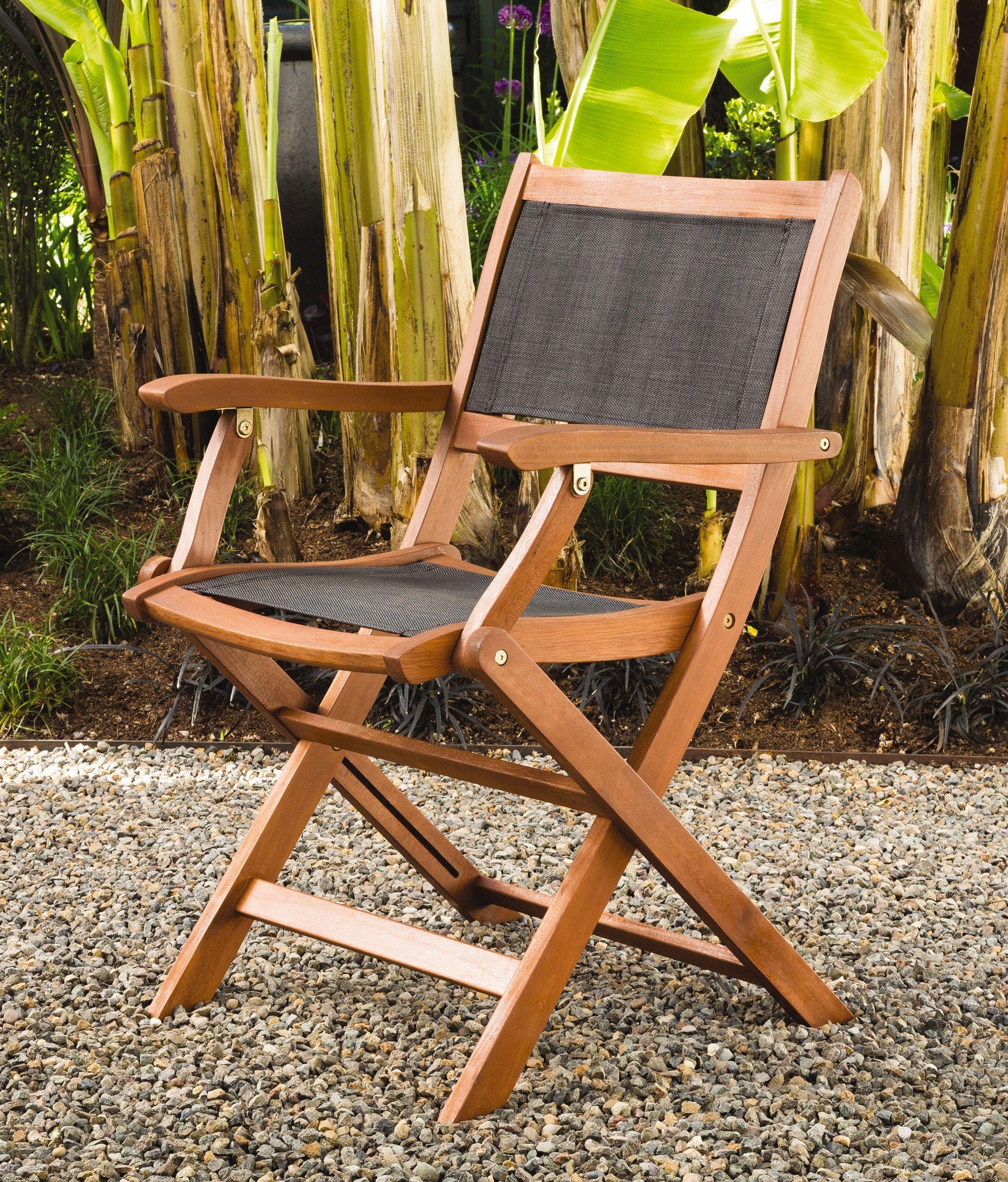Folding Patio Chairs Wood Armchairs Mesh Seat Back Gardeners Com