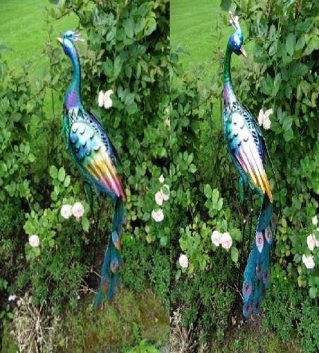 Dekofigur Pfau Metall Ca 90cm Hoch Bunte Gartenfigur Gartenfiguren Gartendekoration Garten