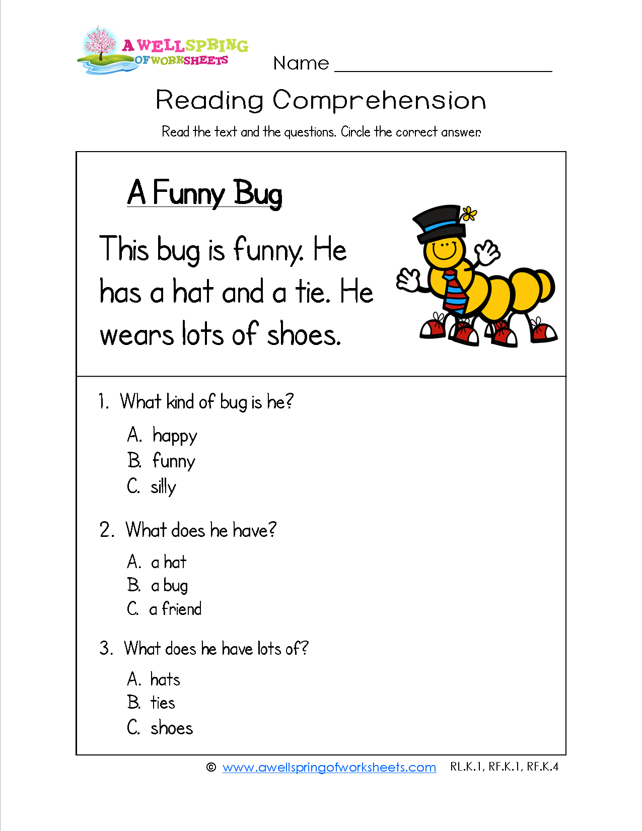 Worksheets Sentence Comprehension Worksheets a funny bug has three simple sentences and comprehension questions this worksheet is one