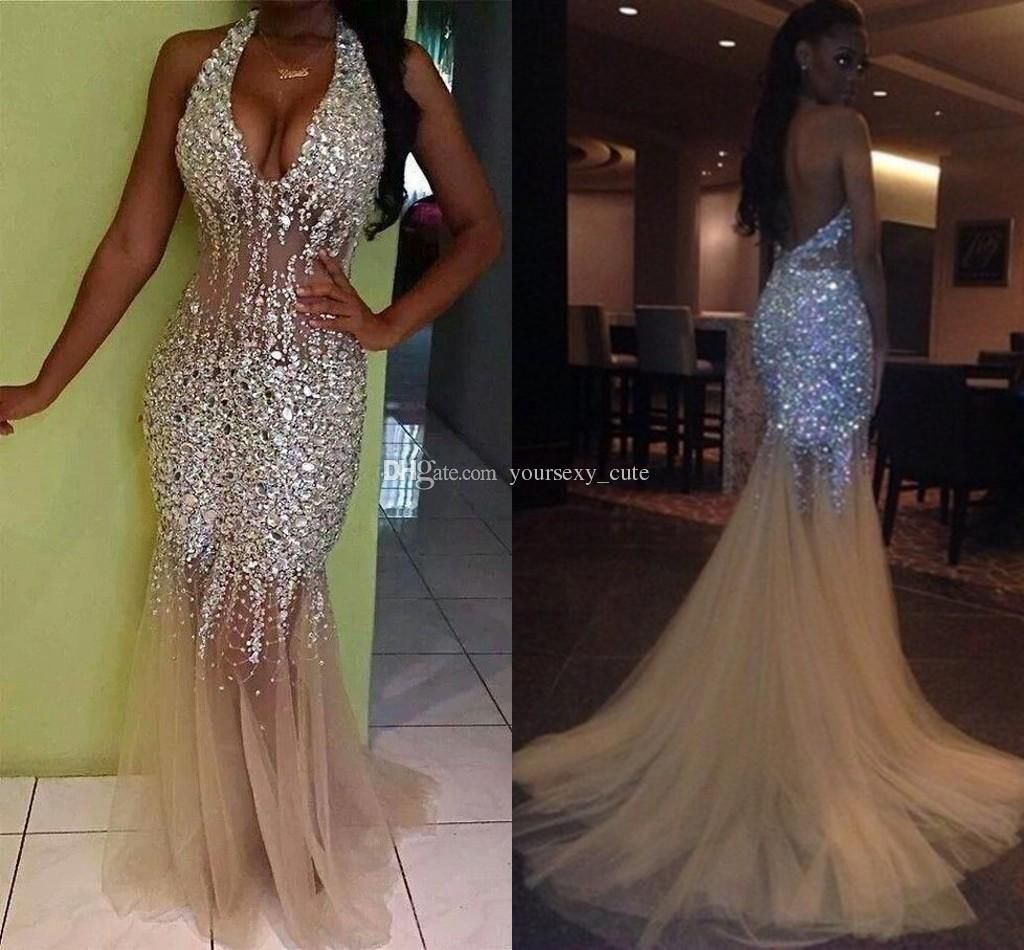 sexy bling mermaid prom dresses deep v neck halter crystal