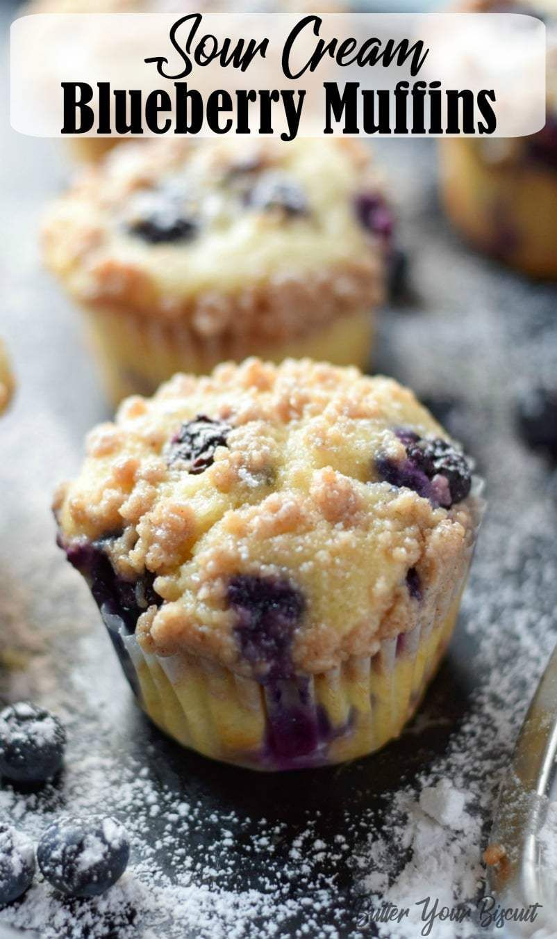 Sour Cream Blueberry Muffins Recipe Butter Your Biscuit Recipe Sour Cream Blueberry Muffins Sour Cream Muffins Sour Cream Recipes