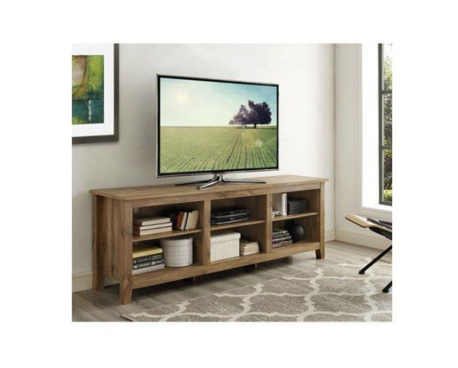 Large Long Wood Tv Stand For 70 Tvs 6 Open Media Storage Shelves Rustic Finish Saracina Home Tv Stand With Storage Tv Stand Wood