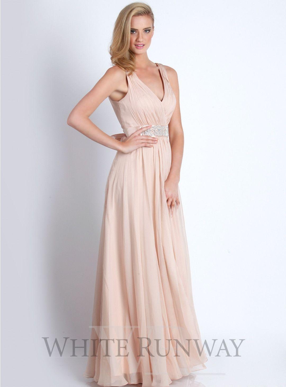 Justine dress a stunning full length dress by jadore a vneckline