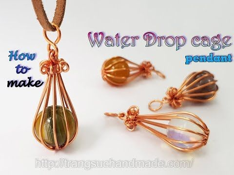 Water Drop Cage Pendant With Large Spherical Stone Without