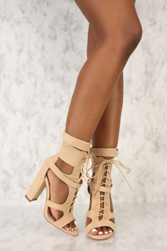 ae4162206b20 Sexy Camel Strappy Front Lace Up Chunky Heel Booties Faux Suede ...
