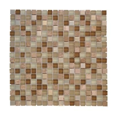 Powder Room Wall Accent Jeffrey Court Warm Topaz 12 In X 12 In Tan Glass Mosaic Tile 99414 At The Home Depot Glass Mosaic Tiles Mosaic Tiles Mosaic Glass
